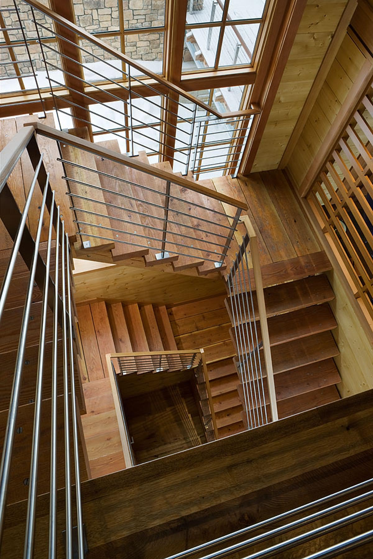 Glass Stair Towers : Elevated lodge style big sky journal